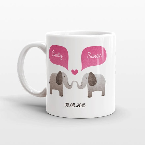 ELEPHANT Couple Mug Personalized Wedding Gift for Couple Engagement Gift Ideas Anniversary Gift for Men Women Husband Him Her Coffee Mug
