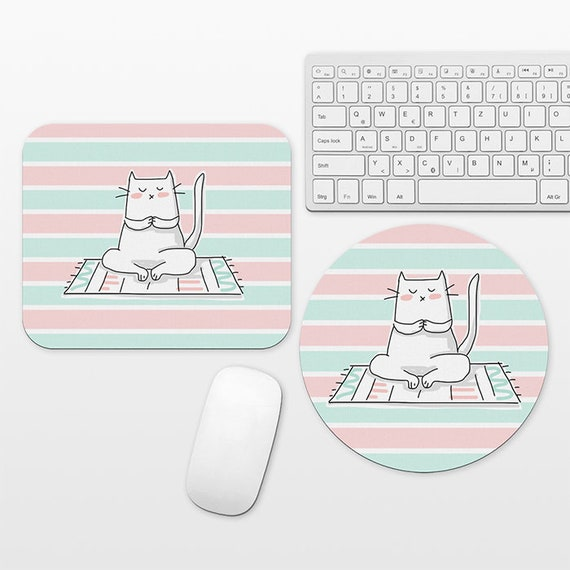Yoga Cat Mouse Pad, Cat Mousepad, Mint Pink Mouse Pad Cute Mouse Mat, Circle Round Rectangular, Cubicle Decor Desk Office Decor for Women