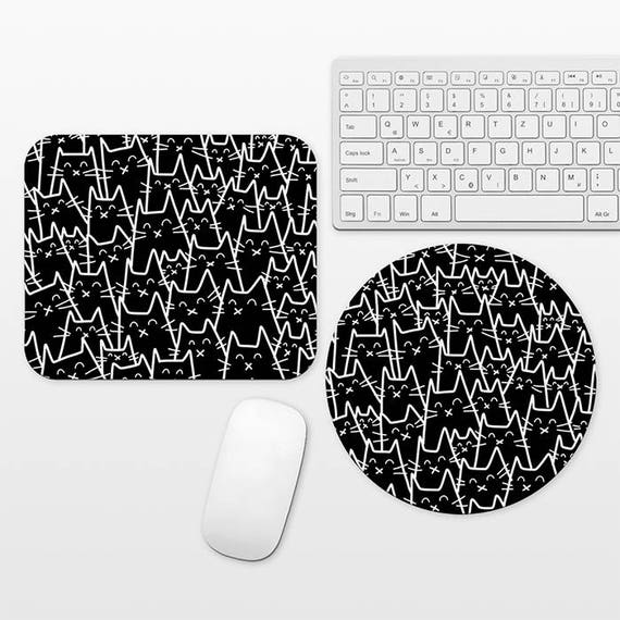 Cat Mouse Pad Cat Mousepad, Black and White Mouse Pad Fun Mouse Mat, Circle Round Rectangular, Cubicle Decor Desk Office Decor for Men Women