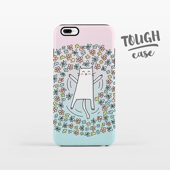 Flower Angel Cat iPhone Case iPhone 8 Plus Case iPhone X Case iPhone 7 Case iPhone 8 Case iPhone 6 Plus Case 6s SE 5s 5c Floral Pastel Cute