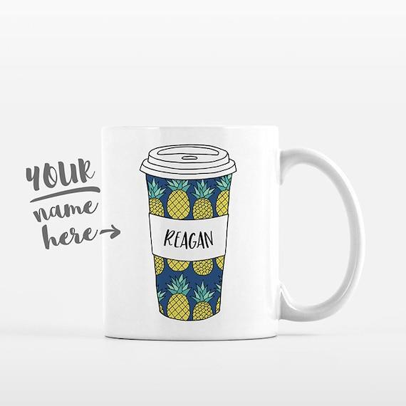 Pineapple Mug Pattern Travel Mug Drawing Personalized Coffee Mug Custom Mug Name Coffee Cup Personalized Gift for Boyfriend Gift for Friend