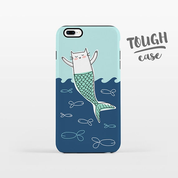 Cat Mermaid Phone Case iPhone 8 Plus Case iPhone X Case iPhone 7 Case iPhone 8 Case iPhone SE Case 6 6s 5s 5c 5 4 Aqua Navy Blue TOUGH