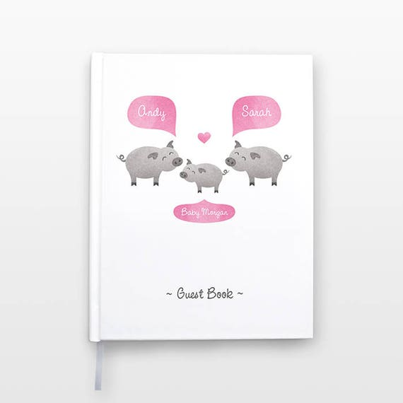 PIG Baby Shower Guest Book, Personalized Baby Book, Animal Baby Guestbook, New Baby Gift, Baby Journal, Baby Notebook, Baby Guest Book