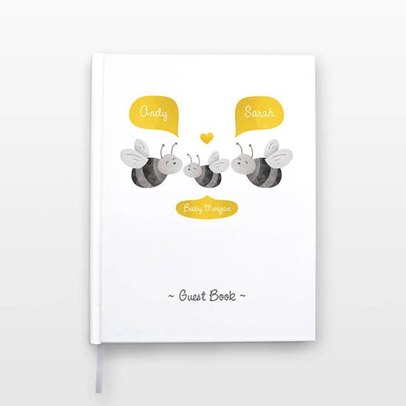 HONEY BEE Baby Shower Guest Book, Personalized Baby Book, Animal Baby Guestbook, New Baby Gift, Baby Journal, Baby Notebook, Baby Guest Book