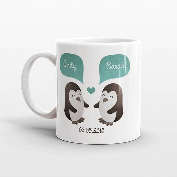 PINGOUIN Couple Mug Saint Valentin cadeau mariage personnalisé   Etsy 1bfe95955a6
