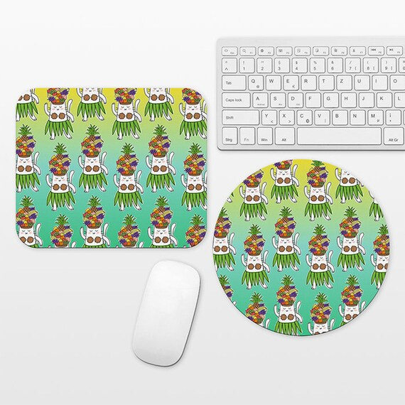 Hawaiian Dancer Cat Mouse Pad, Fruits Tropical Mousepad, Colorful Pattern Fun Mouse Mat, Round Rectangular, Office Decor Desk Accessories