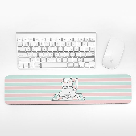 Cat Keyboard Wrist Rest Pad Mint Green Pink Wrist Keyboard Pad Yoga Wrist Pad for Keyboard Rest Cute Decor Office Desk Accessories for Women