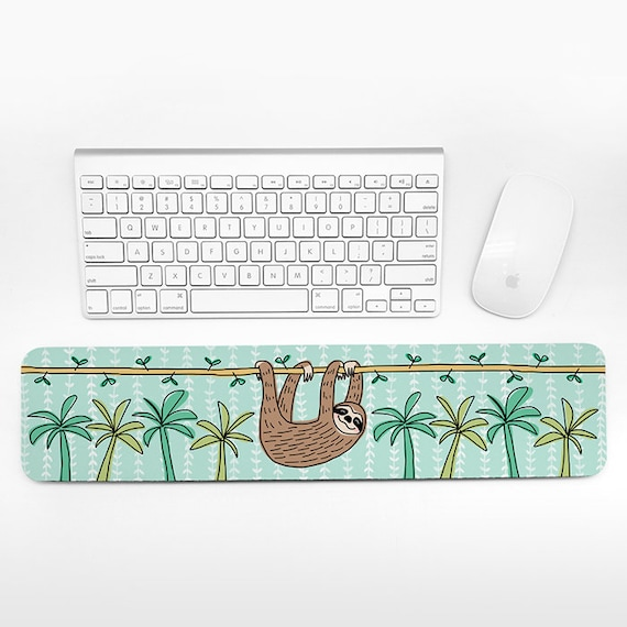 Sloth Keyboard Wrist Rest Pad, Mint Green Wrist Keyboard Pad, Tropical Wrist Pad for Keyboard Rest, Decor Office Desk Accessories for Women