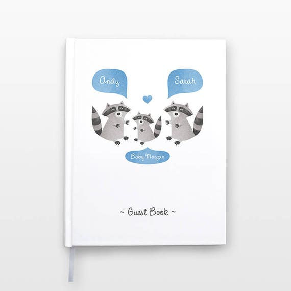 RACCOON Baby Shower Guest Book, Personalized Baby Book, Animal Baby Guestbook, New Baby Gift, Baby Journal, Baby Notebook, Baby Guest Book