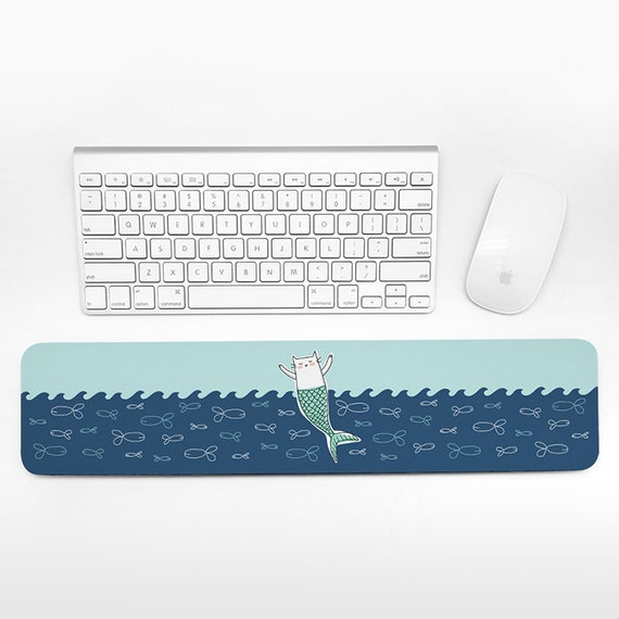 Cat Mermaid Keyboard Wrist Pad Rest, Aqua Navy Blue Wrist Keyboard Rest, Ocean Sea Wrist Rest for Keyboard Pad, Desk Office Decor for Women