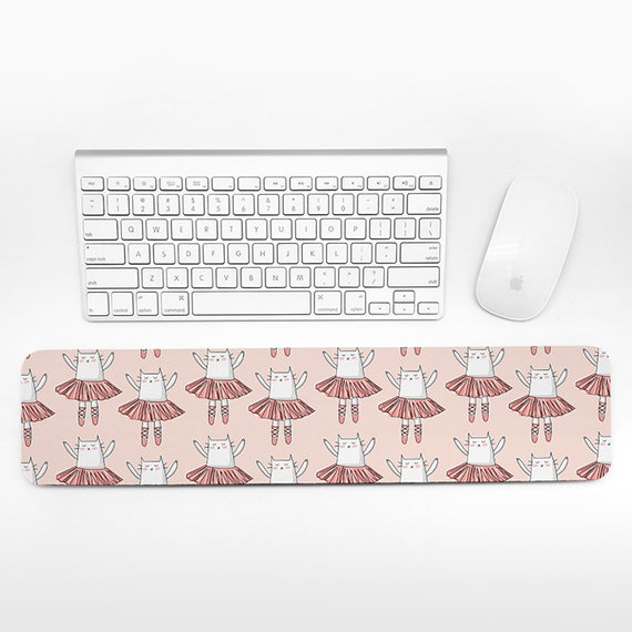 Ballerina Cat Keyboard Wrist Rest Pad, Coral Peach Wrist Keyboard Rest, Ballet Wrist Pad for Keyboard Pad, Cute Desk Cubicle Decor for Women