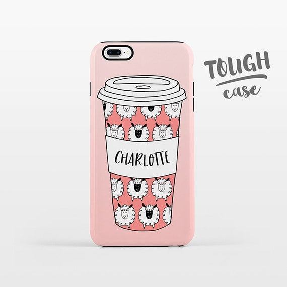 Sheep Cup Coffee Phone Case NAME Custom iPhone Case Personalized iPhone 8 Plus Case iPhone X Case iPhone 7 Case iPhone 6 Plus iPhone 6s SE