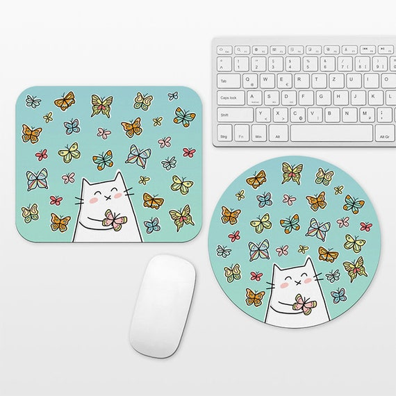 Cat Butterfly Mouse Pad, Butterflies Mousepad, Blue Cute Mouse Mat, Circle Round Rectangular, Desk Decor Office Desk Accessories for Women