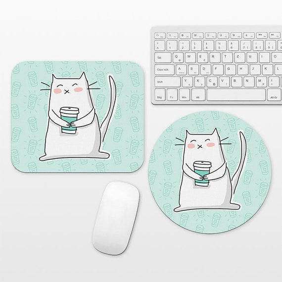 Cat Coffee Mouse Pad Coffee Cat Mousepad, Mint Green Funny Mouse Mat Circle Round Rectangular, Cubicle Decor Desk Office Decor for Women Men