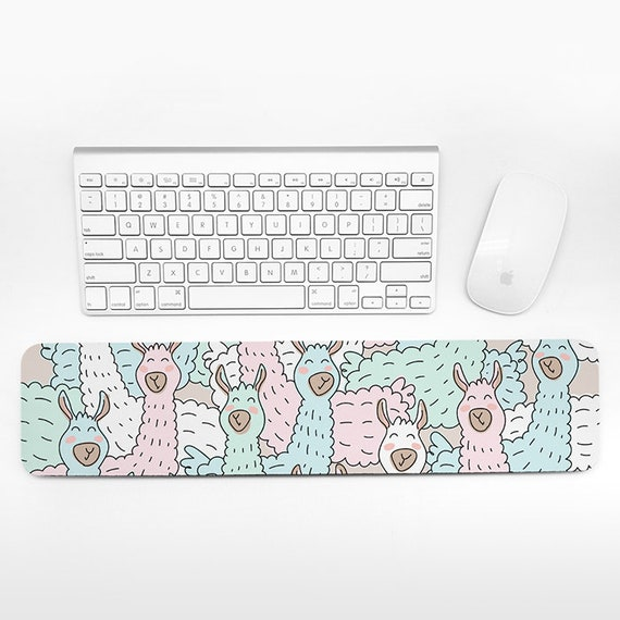 Llama Keyboard Wrist Pad Rest, Animal Pastel Beige Wrist Keyboard Rest, Alpaca Wrist Rest for Keyboard Pad, Cute Desk Office Decor for Women