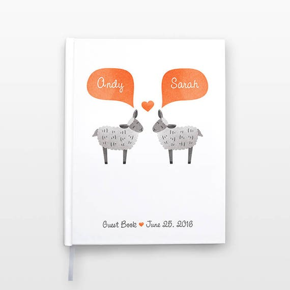 SHEEP Wedding Guest Book, Personalized Wedding Gift, Unique Wedding Guestbook, Lamb Hardcover Personalized Notebook, Animal Couple Journal