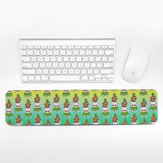 Tropical Fruits Keyboard Wrist Pad Rest Colorful Wrist Keyboard Rest Hawaiian Dancer Cat Wrist Rest for Keyboard Pad Cute Desk Office Decor