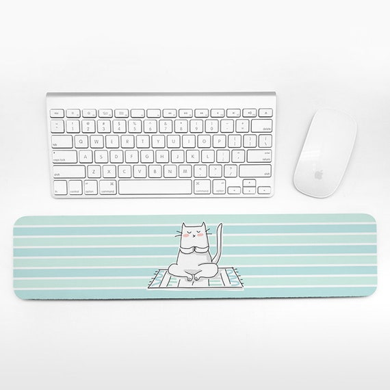 Cat Keyboard Wrist Rest Pad, Aqua Blue Mint Green Wrist Keyboard Rest, Yoga Wrist Pad for Keyboard Pad, Cute Desk Cubicle Decor for Women