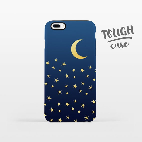 Moon and Stars Phone Case iPhone 8 Plus Case iPhone X Case iPhone 7 Case iPhone 8 Case iPhone SE Case 6 6s 5s 5c 5 4 Space Sky iPhone Case