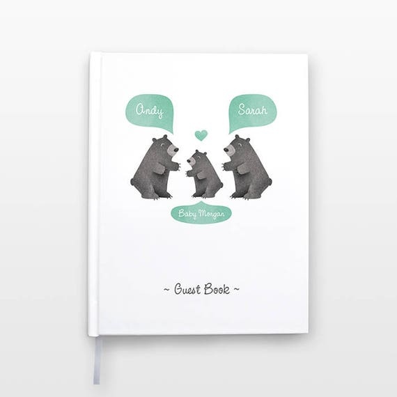 BLACK BEAR Baby Shower Guest Book, Personalized Baby Book, Animal Baby Guestbook, New Baby Gift, Baby Journal, Baby Notebook