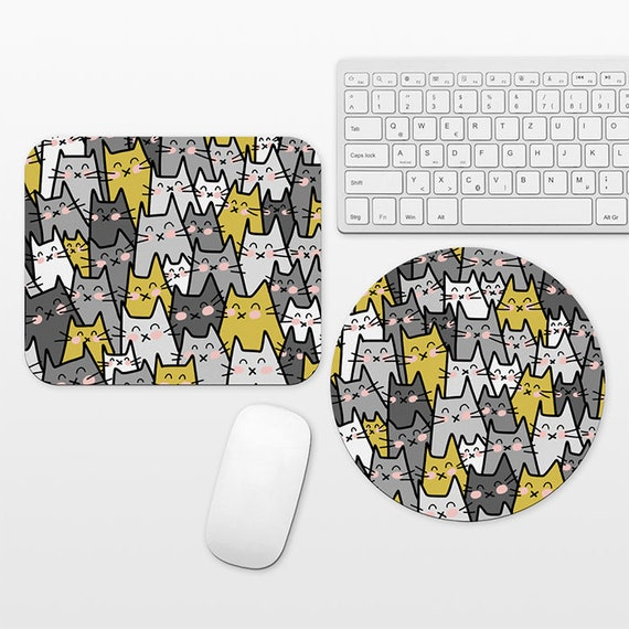 Cat Mouse Pad Cat Mousepad Mustard Yellow Gray Mouse Pad Cute Mouse Mat, Round Rectangular, Cubicle Decor Desk Office Decor for Women Men