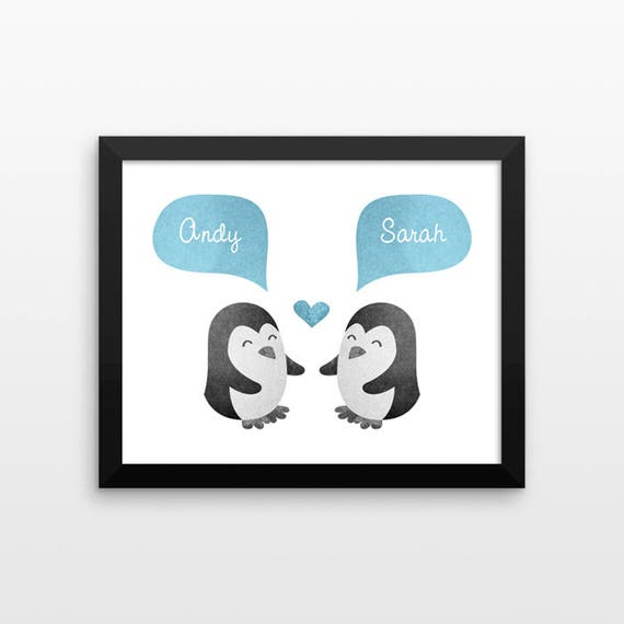 PENGUIN Couple Wall Art Print Decor Personalized Engagement Gift for Couple Gift Wedding Gift Idea Anniversary Gift for Men Women Him Her