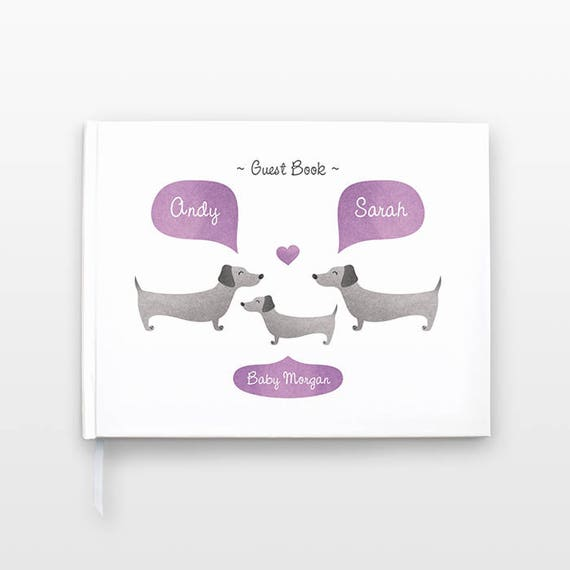 DACHSHUND Wiener Dog Baby Shower Guest Book, Personalized Baby Book, Animal Baby Guestbook, New Baby Gift, Baby Journal, Baby Notebook