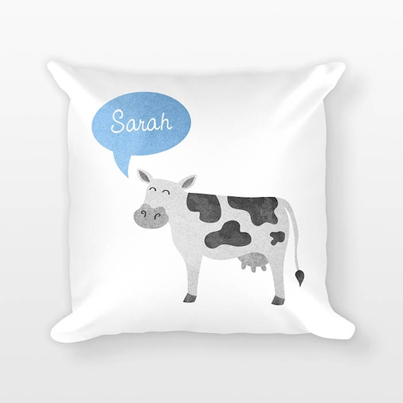 Custom Name Pillow, Cow Pillow, Personalized Pillow, Birthday Gift for Daughter, Kids Room Decor, Farm Animal Pillow, Cow Throw Pillow