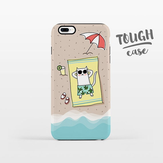 Beach iPhone Case iPhone 8 Plus Case iPhone X Case iPhone 7 Case iPhone 8 Case iPhone 6 Plus Case 6s SE 5s 5c 5 Summer Cat Phone Case TOUGH