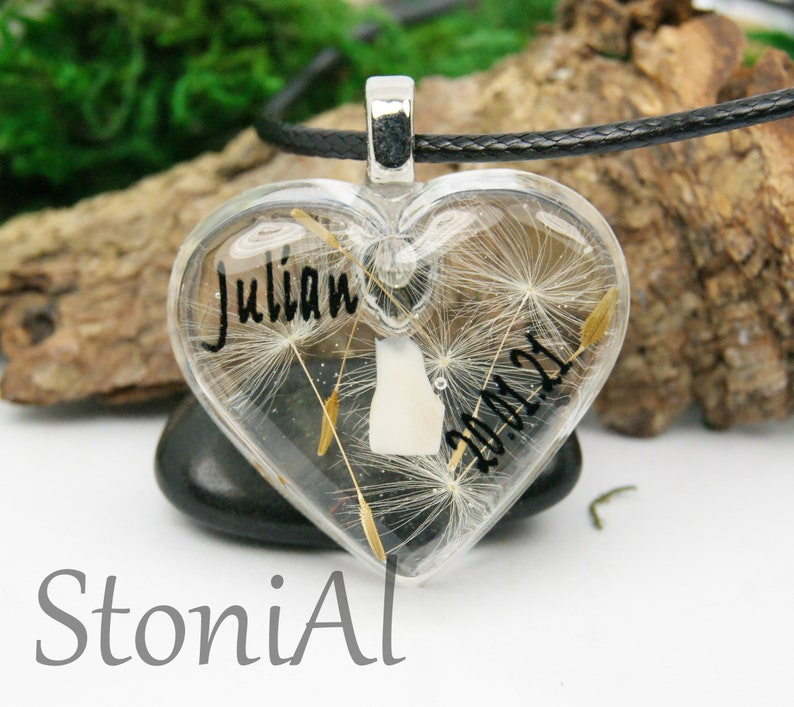 Souvenir jewelry with milk tooth  personalized with name  keepsake