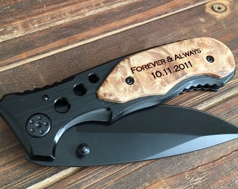 Forever and Always, engraved pocket knife, gift for boyfriend, anniversary gift, wedding gift from bride, gift from wife, gift for groom