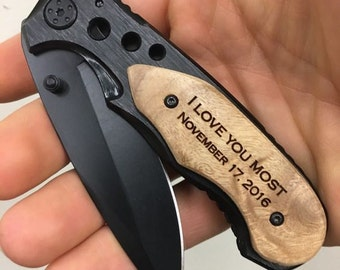 I love you most, Valentines Day Gift engraved pocket knife, gift for boyfriend, anniversary gift, wedding gift from bride, gift from wife