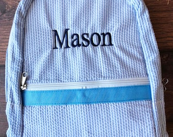 Monogrammed Backpack, Back to School, Seersucker Backpack, Girls Backpack, Boys Backpack, Book Bag, Kids Backpack, School Bag, Backpack