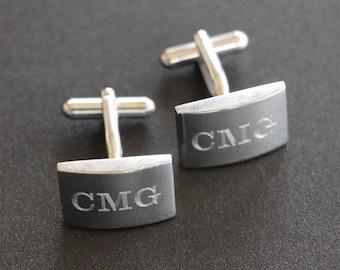 3 Pairs of Monogram Cufflinks, Personalized Cufflinks, Custom Engraved Wedding Cufflinks, Cuff Links Personalized, Groom Cufflinks