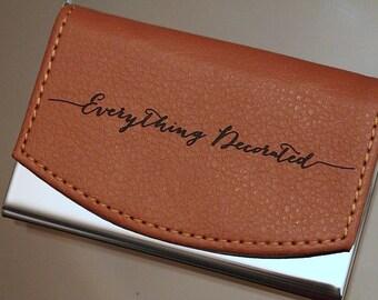 Business card holder etsy custom engraved leather business card holder groomsmen gift personalized business card case groomsman colourmoves