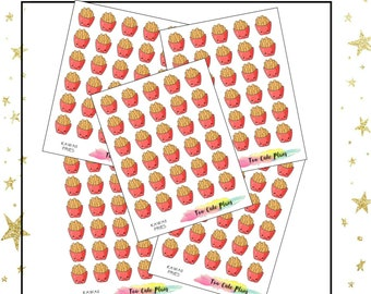 Kawaii French Fries Planner Stickers