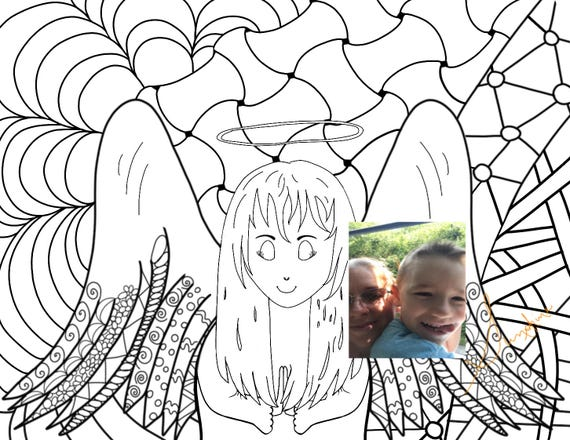 Coloring Page Angel Spiritual Coloring Page Etsy