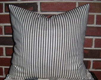 TWO Ticking Stripe Pillow Covers , Black, Blue, Gray, Aqua, Red, Shabby Chic Pillow Cover, Ticking Pillow, Cottage Chic, French, Beach Decor