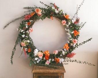 Faux chandelier etsy eucalyptus flower chandelier wreath rustic wedding decor chic boho faux floral wreath aloadofball Choice Image