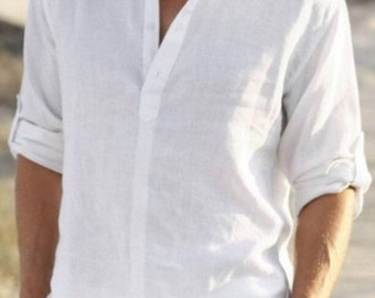 f1ce58240 Man white linen shirt beach wedding party special occasion birthday summer