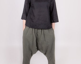 LINEN HAREM pants trousers yoga pants