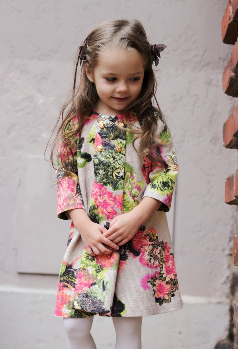 Girls flower dress autumn winter special occasion ny christmas long sleeve birthday baby pink flower multi