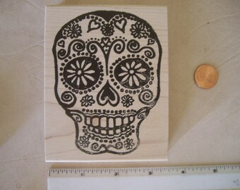 Mini rubber stamp SKULL AND BONES \u00d8 12 mm  0.47 inch