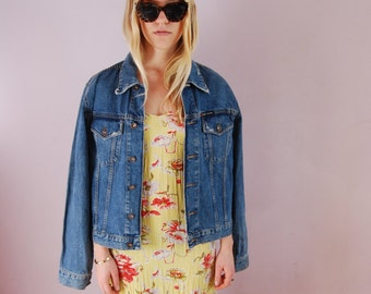 DKNY 90s jean jacket - 90s jean jacket - 90s Denim jacket - Blue jean jacket - blue denim jacket - Distressed denim jacket - medium