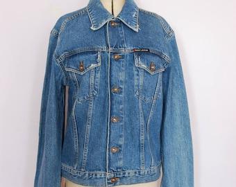 DKNY 90s jean jacket - 90s jean jacket - 90s Denim jacket - Blue jean jacket - blue denim jacket - Distressed denim jacket - medium