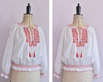 Vintage red scarlet karmen blouse Size XS Elastic waist top Flame scarlet blouse Peasant cotton top Puff sleeves romantic shirt Rustic top