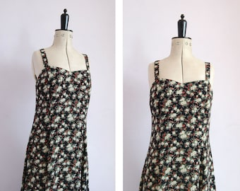 d0dcd5cfd0c6e Vintage 1990s Black floral rayon crepe slip dress - 90s spaghetti strap  dress - 90s grunge dress - 90s floral maxi dress - 90s summer dress