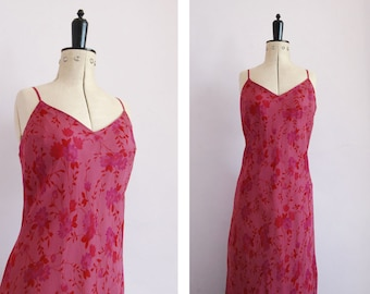 9923ff596ccf Vintage 1990s silk chiffon pink floral bias cut slip dress - 90s David  Warren bias cut silk floral dress - 90s Silk bias cut slip dress - M