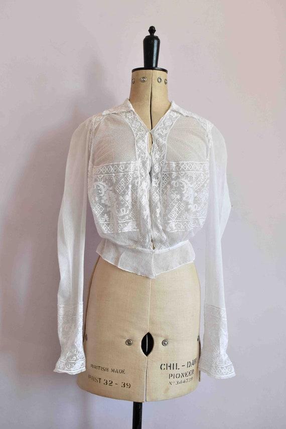 Antique Victorian white filet lace net blouse top… - image 2