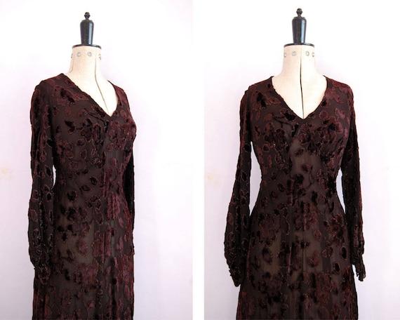 Vintage 1920s 30s Devoré silk velvet gown - 20s 30